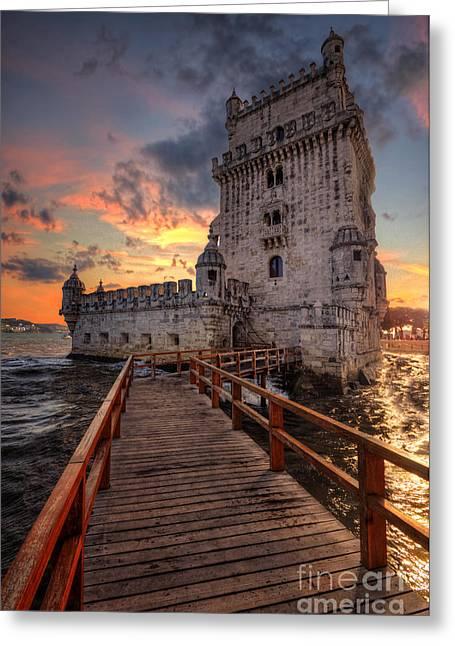 Famous Bridge Greeting Cards - Torre de Belem Greeting Card by Yhun Suarez