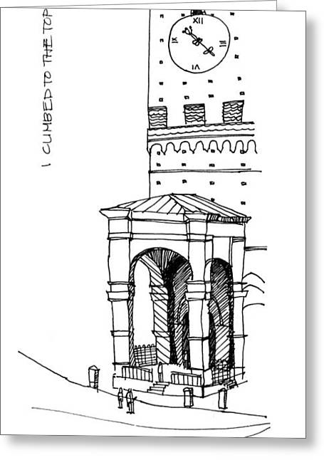 Sienna Italy Drawings Greeting Cards - Torre del Mangia Greeting Card by Nora Medellin