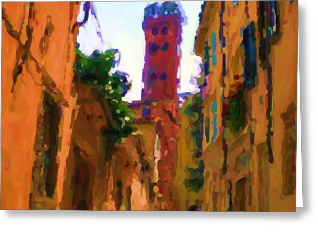 Asbjorn Lonvig Digital Art Greeting Cards - Torre Guinigi di Lucca Italia Greeting Card by Asbjorn Lonvig