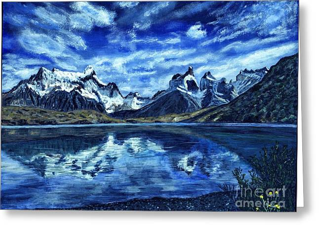 Snow Capped Greeting Cards - Torres del Paine Painting Greeting Card by Timothy Hacker