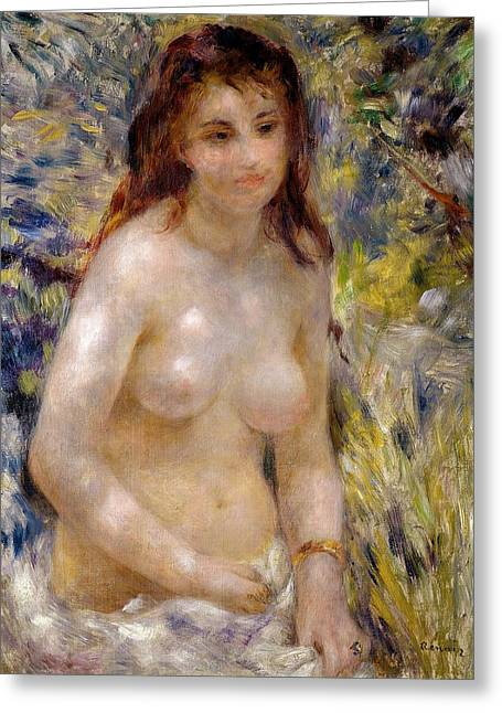 Bracelet Greeting Cards - Torso effect of sunlight Greeting Card by Pierre Auguste Renoir