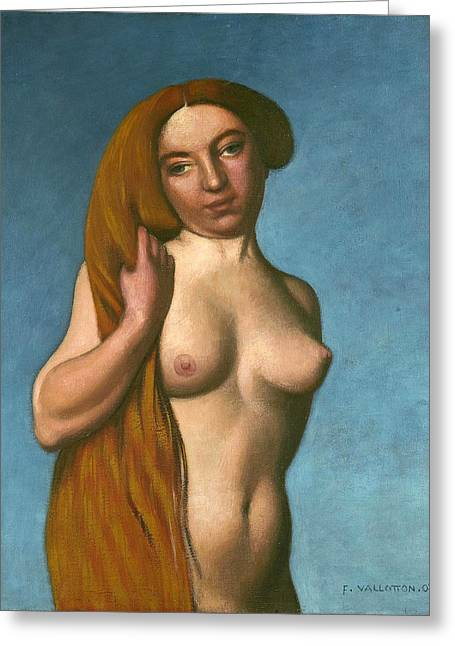 Loose Hair Greeting Cards - Torso of a Woman with Loose Red Hair Greeting Card by Felix Vallotton