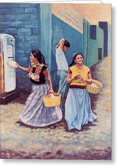 Tortilla Sellers Greeting Card by Emiliano Campobello