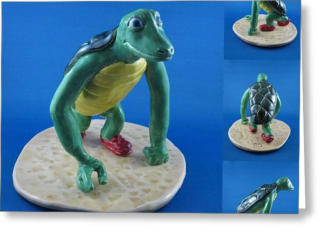 Reptiles Ceramics Greeting Cards - Tortoise getting set for the race Greeting Card by Bob Dann