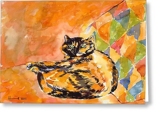Orange Greeting Cards - Tortoiseshell Cat Greeting Card by Catherine Martha Holmes