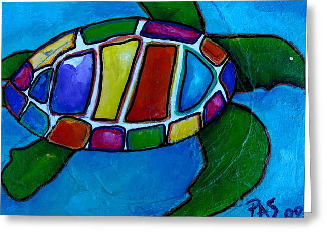 Caribbean Sea Paintings Greeting Cards - Tortuga Greeting Card by Patti Schermerhorn