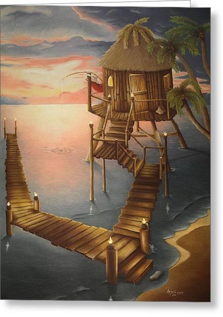 Tropical Beach Pastels Greeting Cards - Tortugan Riviera Greeting Card by Amanda Clark