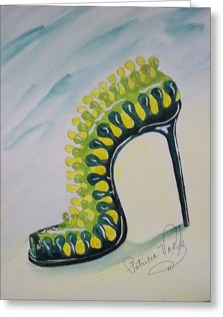 High Heeled Tapestries - Textiles Greeting Cards - Torture Greeting Card by Patricia Voelz