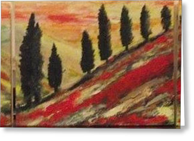 Italian Sunset Greeting Cards - Toscano. Tryptich. Greeting Card by Paula  Heffel
