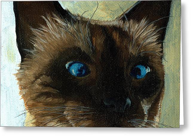 Linda Apple Paintings Greeting Cards - Totally Siamese - cat portrait oil painting Greeting Card by Linda Apple