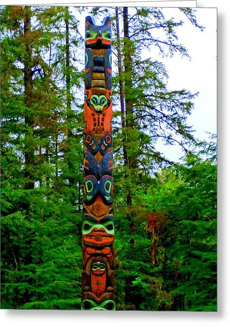 Wood Carving Greeting Cards - Totem 20 Greeting Card by Randall Weidner