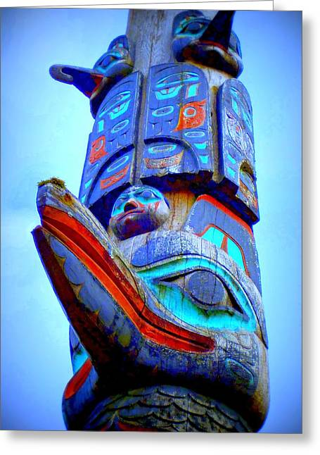 Wood Carving Digital Art Greeting Cards - Totem 42 Greeting Card by Randall Weidner