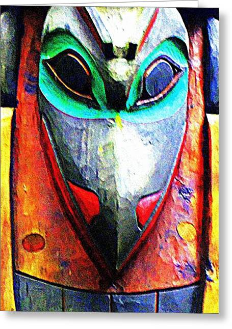 Wood Carving Greeting Cards - Totem 7 Greeting Card by Randall Weidner