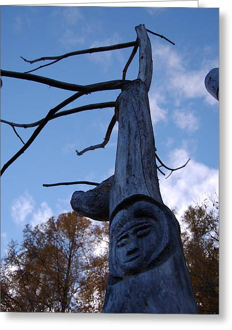 Souls Greeting Cards - Totem Face Of A Tree Spirit Carved On A Tree Trunk Greeting Card by Jozef Klopacka