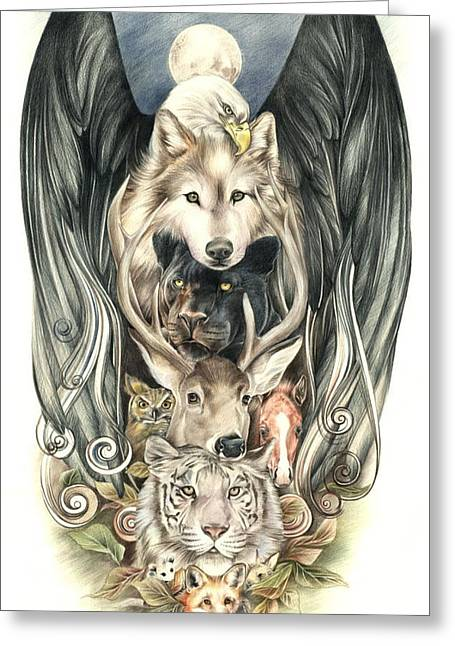 Wolf Pastels Greeting Cards - Totem Greeting Card by Johanna Pieterman