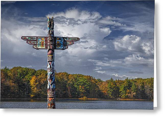 Totem Pole During Autumn By A Lake Greeting Card by Randall Nyhof