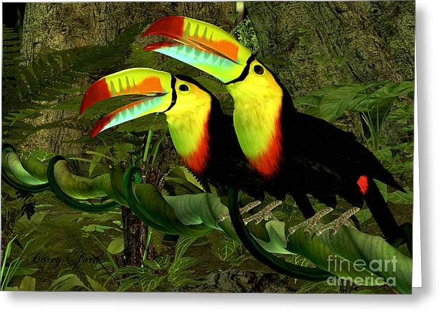 Bipedal Greeting Cards - Toucan Jungle Greeting Card by Corey Ford