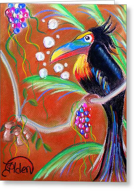 Wine Grapes Pastels Greeting Cards - Toucanwine Bird Greeting Card by Jo Hoden