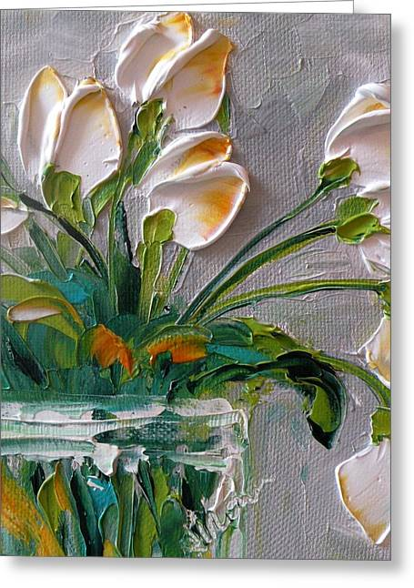 Impasto Greeting Cards - Touch of Amber Tulips Greeting Card by Jan Ironside