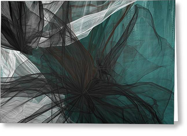 Touch Of Class - Black And Teal Art Greeting Card by Lourry Legarde