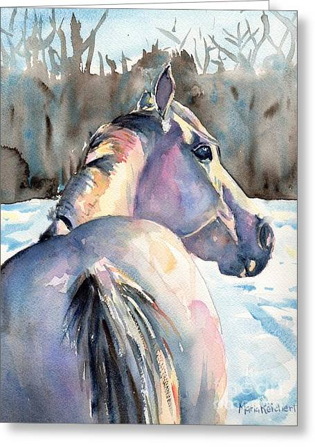 Quarter Horses Greeting Cards - Touch of Grey Greeting Card by Maria