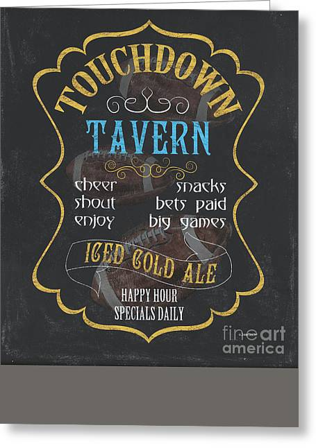 Football Words Greeting Cards - Touchdown Tavern Greeting Card by Debbie DeWitt
