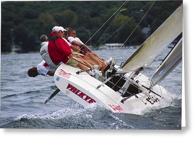Sail Boats Greeting Cards - Tough It Out - Lake Geneva Wisconsin Greeting Card by Bruce Thompson
