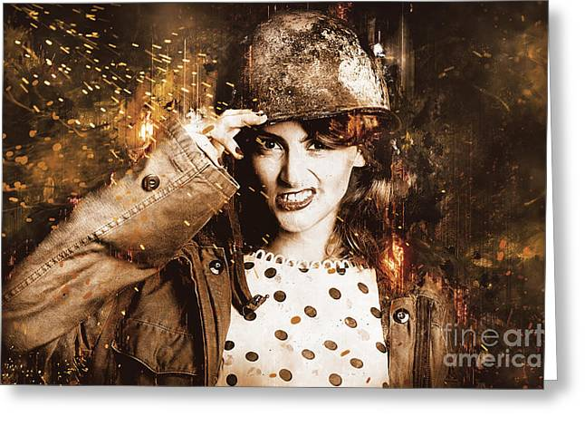 Tough Pin Up Soldier Greeting Card by Jorgo Photography - Wall Art Gallery