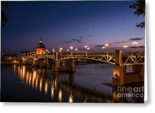 Midi Greeting Cards - Toulouse Bridge 1 Greeting Card by Tony Priestley