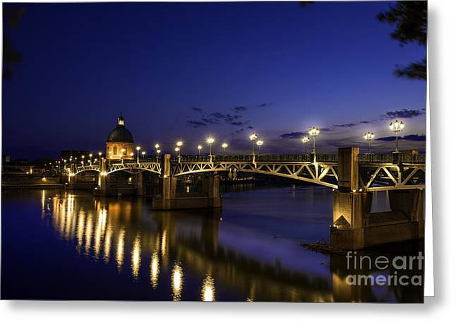 Reflecting Water Greeting Cards - Toulouse Bridge 3 Greeting Card by Tony Priestley