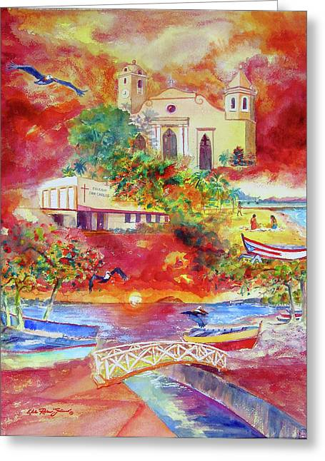 Caribbean Prints Tropical Town Print Greeting Cards - Tour around Aguadilla Puerto Rico Greeting Card by Estela Robles