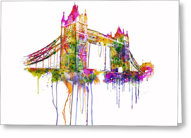 Orange Tower Greeting Cards - Tower Bridge watercolor Greeting Card by Marian Voicu