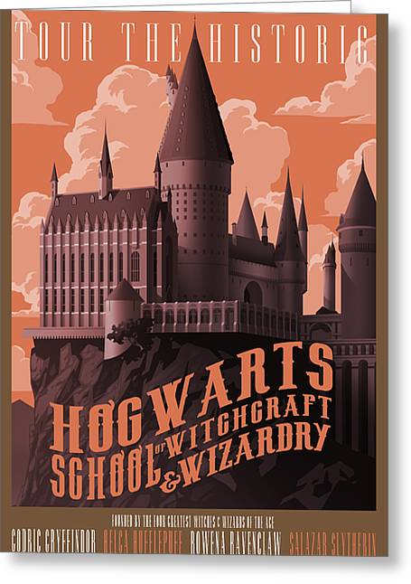 Tour Hogwarts Castle Greeting Card by Christopher Ables