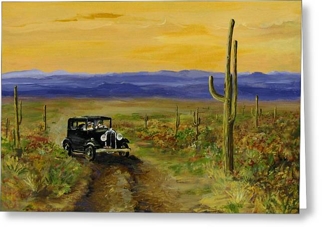 Jack Skinner Paintings Greeting Cards - Touring Arizona Greeting Card by Jack Skinner