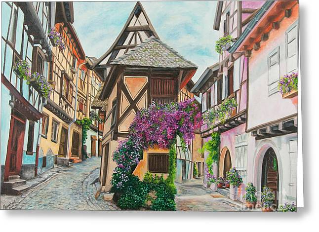 Flower Boxes Paintings Greeting Cards - Touring in Eguisheim Greeting Card by Charlotte Blanchard