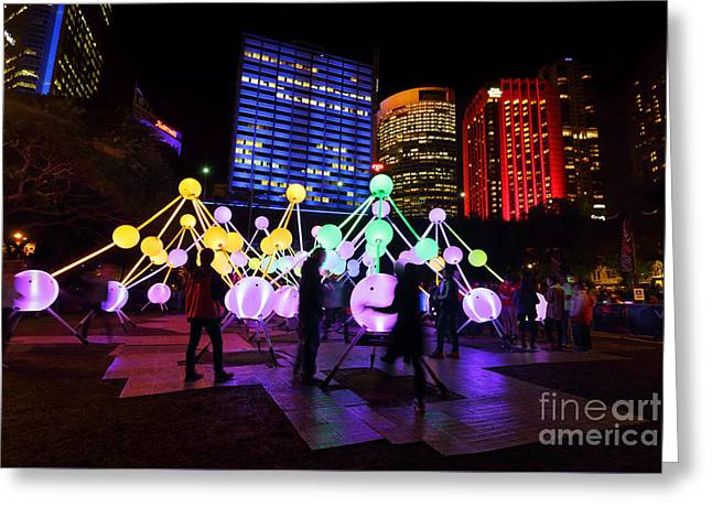 Affinity Greeting Cards - Tourists and locals enjoying Affinity at Vivid Sydney Greeting Card by Leah-Anne Thompson
