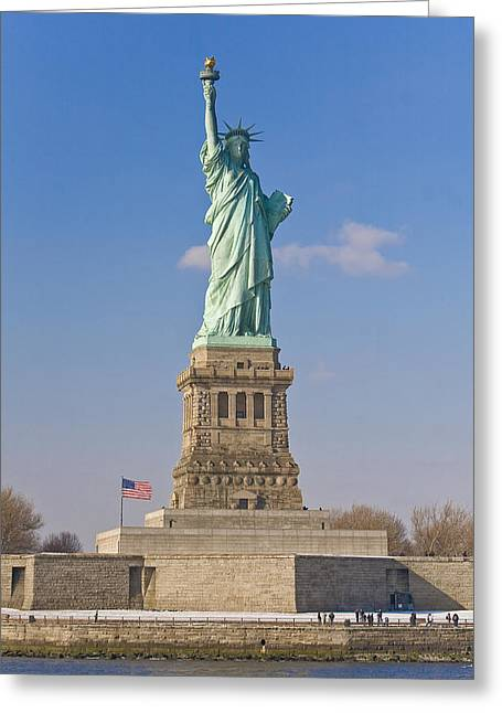 Obscured Face Greeting Cards - Tourists At The Statue Of Liberty Greeting Card by Mike Theiss