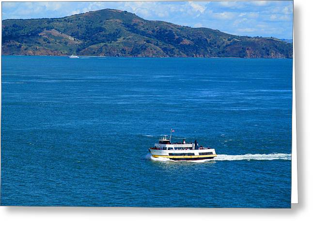 Downtown San Francisco Greeting Cards - Tourists Ferry Greeting Card by Tina M Wenger