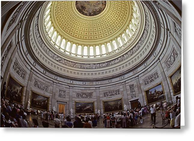 U.s. Capitol Dome Greeting Cards - Tourists Gathered Under The The U.s Greeting Card by Kenneth Garrett