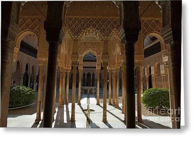 Tourists In The Courtyard In The Patio De Los Leones Area At Alhambra Greeting Card by Sami Sarkis