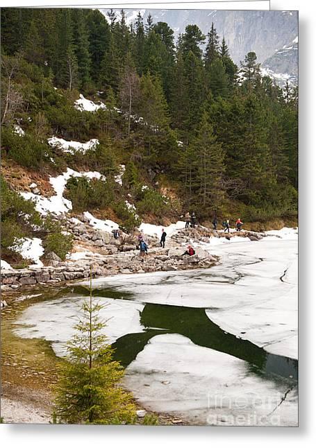 Tourists Walk Around Frozen Morskie Oko Greeting Card by Arletta Cwalina