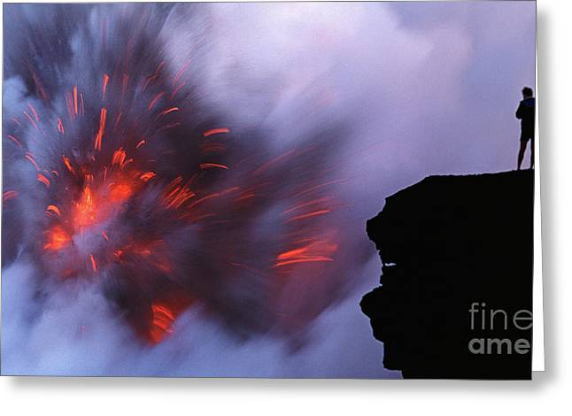Ledge Greeting Cards - Tourists Watch Lava Flow Greeting Card by Carl Shaneff - Printscapes