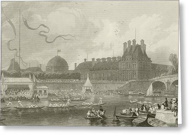 White River Scene Greeting Cards - Tournay on the Seine during the July Fetes Greeting Card by Eugene-Louis Lami