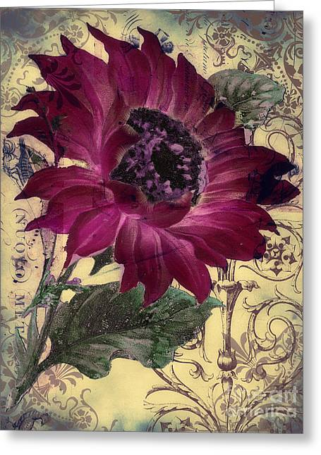 Victorian Greeting Cards - Tournesol Rouge Greeting Card by Mindy Sommers