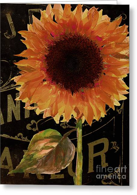 Tournesols Orange Sunflowers Greeting Card by Mindy Sommers