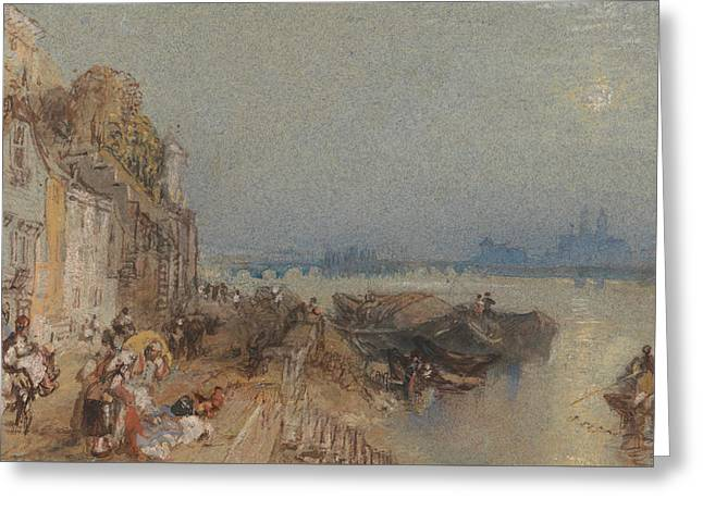 Tours- Sunset- Looking Backwards Greeting Card by Joseph Mallord William Turner