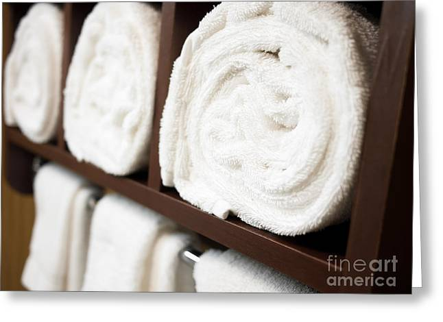 Towel Rack With Rolled Towels Greeting Card by Paul Velgos