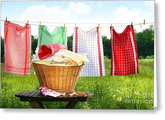 Peg Greeting Cards - Towels drying on the clothesline Greeting Card by Sandra Cunningham