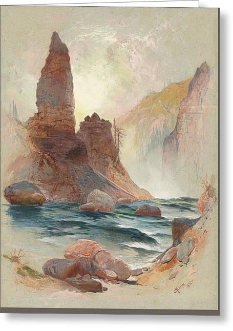 Tower At Tower Falls, Yellowstone Greeting Card by Thomas Moran