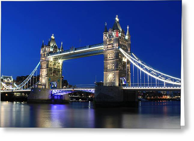 Old Tower Greeting Cards - Tower Bridge at night Greeting Card by Jasna Buncic